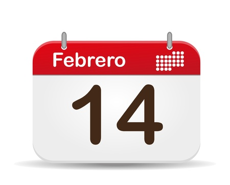 14 february calendar,Valentine´s Day  Vector