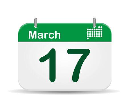 march 17: 17 March Calendar,Saint Patrick�s Day  Illustration