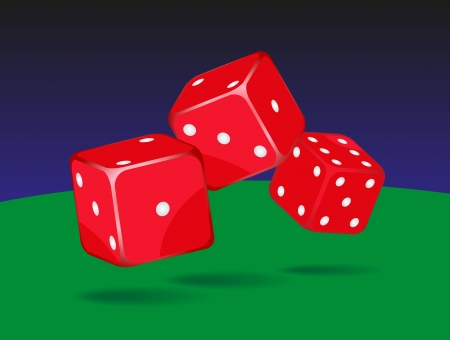 Casino dices on green and blue background  Vector