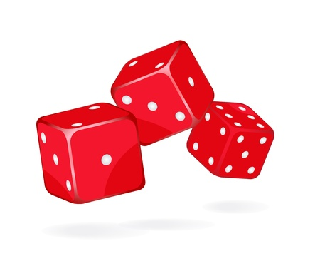 Casino dices on white background