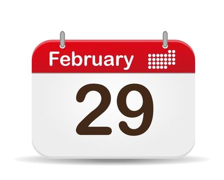 29 febrero calendario, fondo blanco