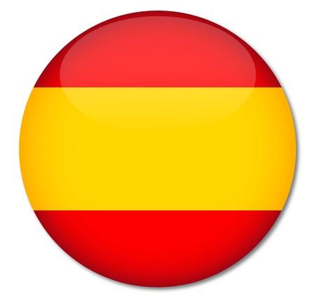 Espa�a Bandera Glossy Button, Vector