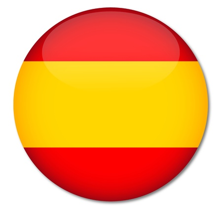Spain Flag Glossy Button,Vector  Illustration
