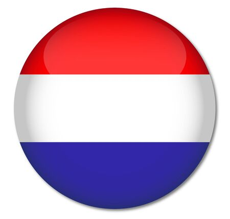 Netherlands Flag Glossy Button Stock Vector - 17212009