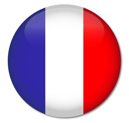 France Flag Glossy Button,Vector  Vector
