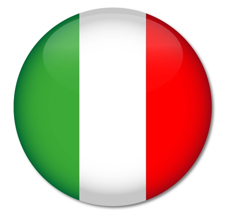 Italy Flag Glossy Button Vector