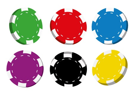 Collection of coloured casino chips isolated on white background,vector illustration