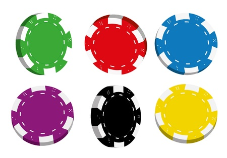gambling chip: Collection of coloured casino chips isolated on white background, illustration