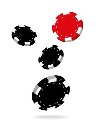 Illustration of Falling Black and Red Poker Chips Isolated on White Background  Vector