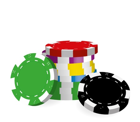 chips stack: Collection of coloured casino chips isolated on white background, illustration