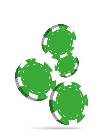 Illustration of Falling Green Poker Chips Isolated on White Background Stock Vector - 17418593