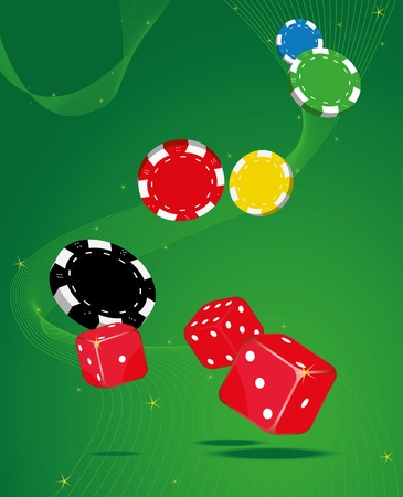 Dices and Poker Chips on a shimmering background Vector