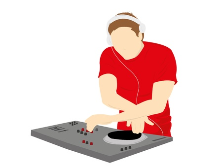 electronica: Male silhouette DJ mixing on record deck,vector illustration
