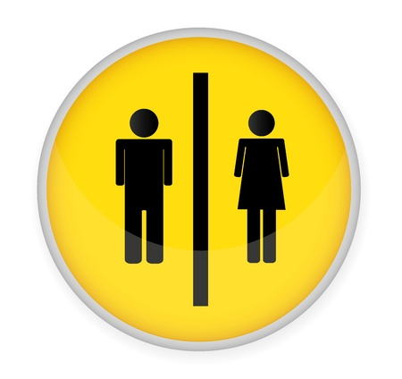 Man and women WC sign vector,glossy button  Illustration