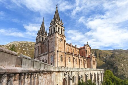 covadonga: Basilica of Our Lady of Battles in Covadonga, Asturias, Spain  Stock Photo