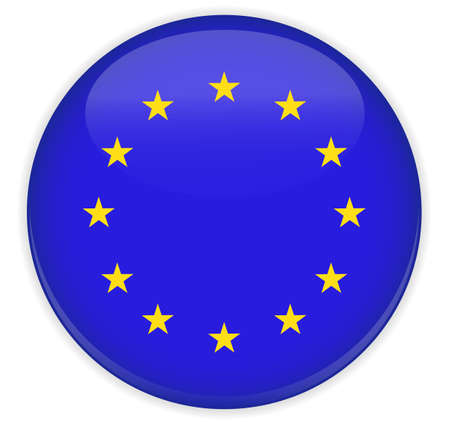 Europe Flag Glossy Button  Stock Vector - 17708830