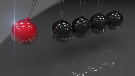 Render Newtons Cradle with a Red Ball  photo