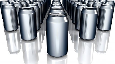 Render of Blank Metal Cans Background  photo