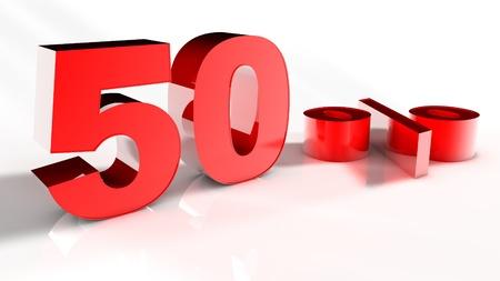 Render 3D de un 50 por ciento de rojo Cartas en fondo blanco