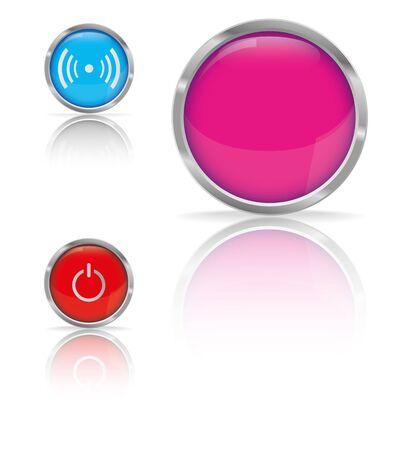 Conjunto de botones brillantes con poder y Zona para logo Wifi, ilustraci�n vectorial Vectores
