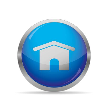 Glossy Home Blue Button,vector illustration Stock Vector - 18860507