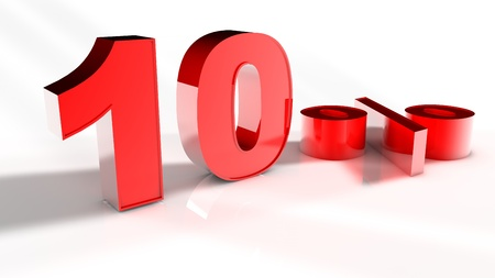 3D Render of a Red 10 Percent Letters in White Background  photo