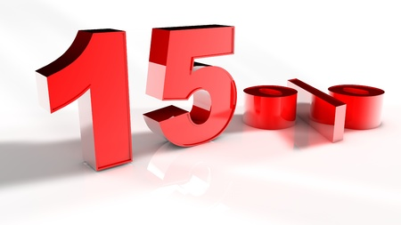 3D Render of a Red 15 Percent Letters in White Background photo