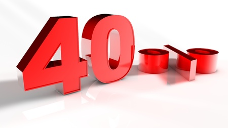 3D Render of a Red 40 Percent Letters in White Background  photo