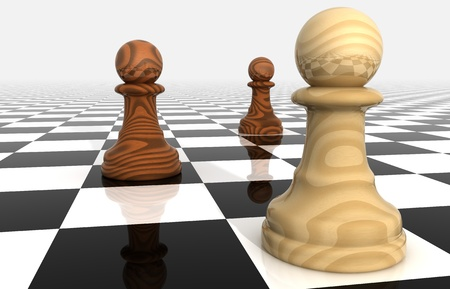 confrontation: Render of Confrontation of Chess Pieces Pawns  Stock Photo
