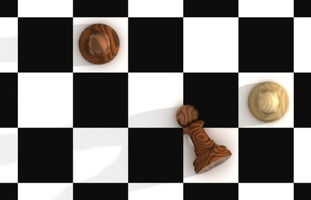 battle plan: Render of Confrontation of Chess Pieces Pawns  Stock Photo