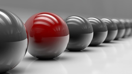steel balls: 3d Render of Red and Steel Balls With DOF