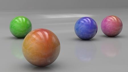 Render 3d de las bolas de colores Foto de archivo