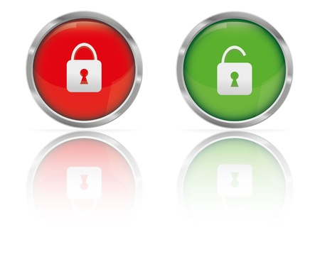 unlocked: Web Button Locked and Unlocked    Illustration