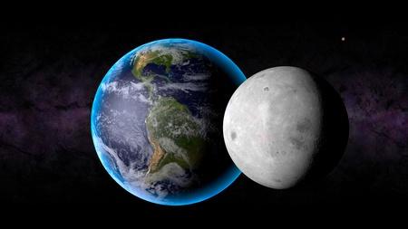Render de la Tierra, la Luna Foto de archivo