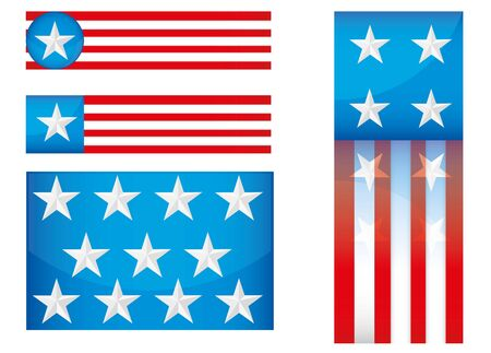 USA  Icon Set iSolated on White , illustration  Vector