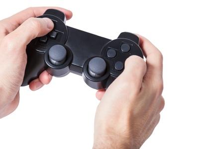 Close-up de manos masculinas Holding Gamepad fondo blanco aislado Foto de archivo