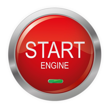Engine Start Glossy Button Vector