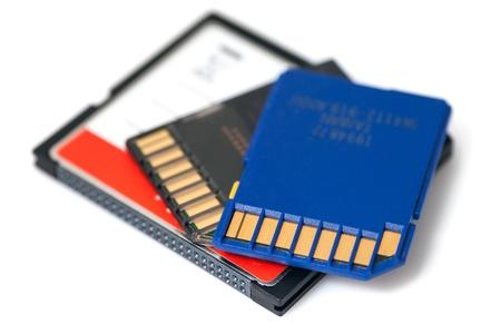 SD and Compact Flash Memory Cards iSolated on White Background  Stock Photo