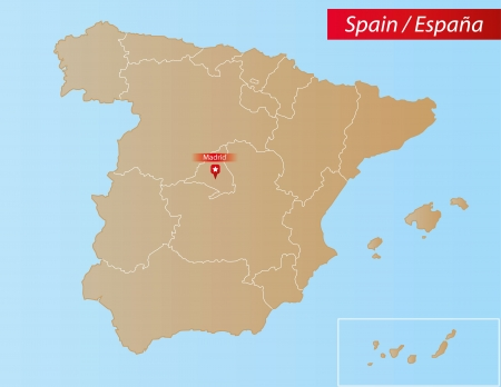 Map of Spain With islands and Autonomous Communities  Vector