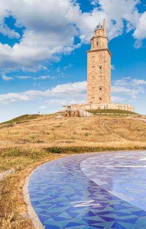 View of The Hercules Tower in La Coruña, Galicia, Spain