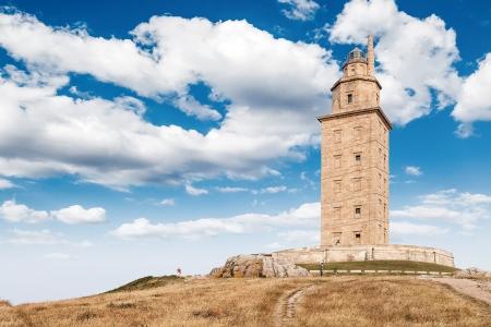 スペイン ガリシア、ラ ・ コルーニャのヘラクレスの塔のビュー 写真素材