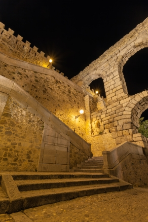 Aqueduct in Segovia at Night, Castilla y Leon, Spain