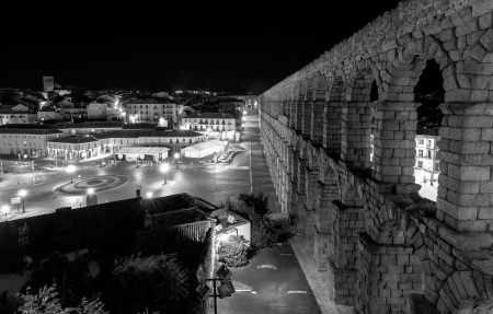 Black and White Image,Aqueduct of Segovia at Night, Castilla y Leon, Spain
