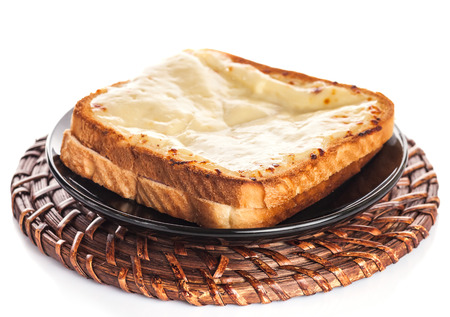 Sandwich With Gratin Cheese iSolated On White Background. Stock Photo