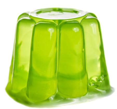 Gelatina verde aislado sobre fondo blanco. Foto de archivo