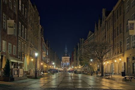 Night view of the most famous street of Gdansk. photo