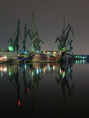 seaport: Night view of the shipyards of Gdansk, Poland. Stock Photo