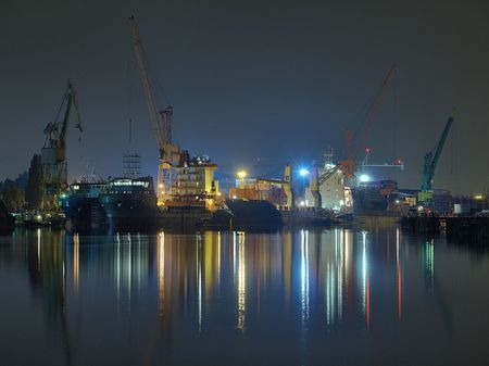 Gdansk shipyard repair seen at night, Poland.