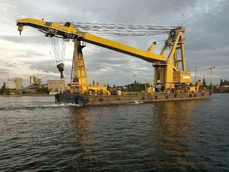 Heavy lift floating in the working port. photo