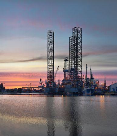 Drilling rig in repair in harbor Gdansk Stock Photo - 5068638